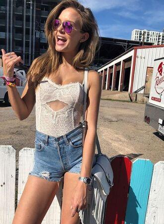 underwear bodysuit shorts josephine skriver model off-duty instagram denim denim shorts lace lace top
