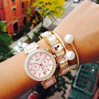 pearl jewels ishopcandy watch pink pink watch bracelets pearl bracelet pearls armcandy armcandy watch arm candy set arm candy arm candy watch set