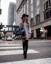 hat,fedora,turtleneck sweater,black fedora,black bag,floppy brim felted fedora,black over the knee boots