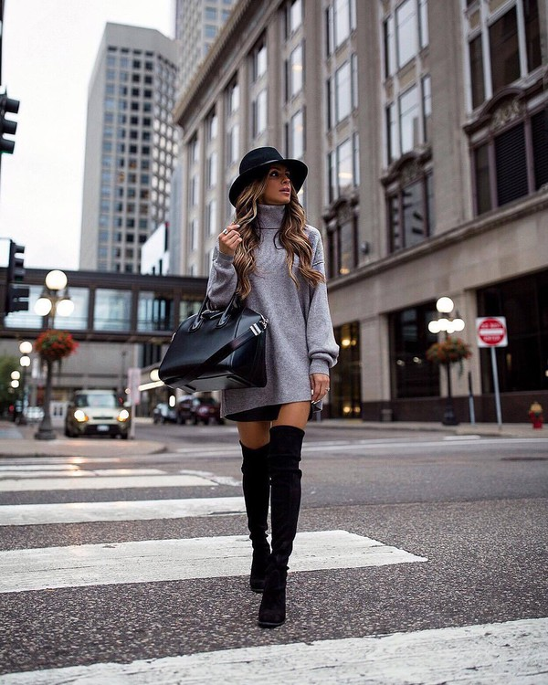 hat fedora turtleneck sweater black fedora black bag floppy brim felted fedora black over the knee boots