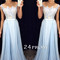 A-line round neck lace applique chiffon long prom dress, formal dress - 24prom
