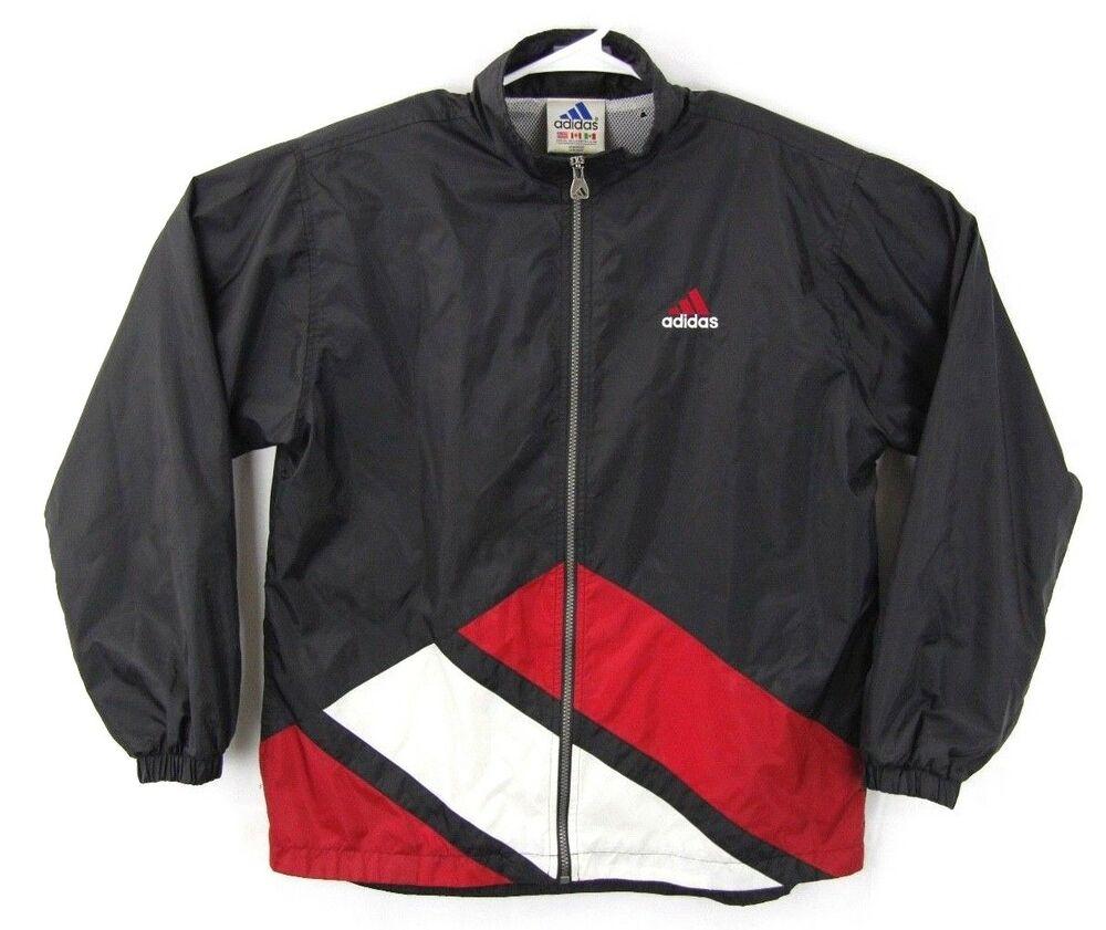 Vintage Adidas Mens Black Red White Windbreaker Light Jacket Size XL