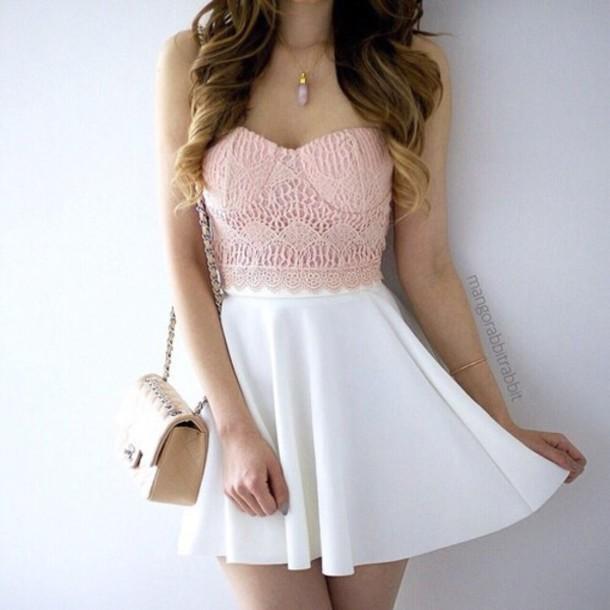 Shirt light pink crochet crop top bandeau top cute top for Pastel pink dress shirt