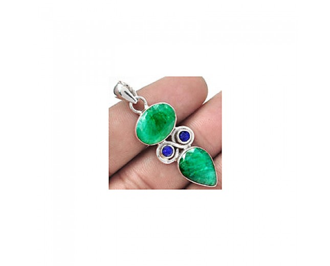 Handmade 925 sterling silver Emerald Pendant