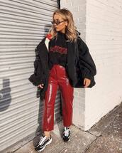 shoes,sneakers,pants,cropped pants,vinyl,high waisted pants,jacket,oversized jacket,sweater,sunglasses