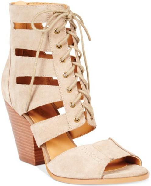 shoes heels beige lace up heels\