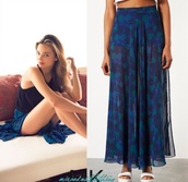 skirt,slit maxi skirt,maxi skirt,blue skirt,blue,chiffon,paisley,chiffon skirt,slit skirt,slit,double slit skirt,print,printed skirt,miranda kerr,celebrity style,celebrity,casual,summer,summer outfits,trendingfashion,trending clothes,floral skirt,high waisted skirt,aqua printed skirt,vacation outfits,beach,floaty,summer holidays,spring,spring outfits