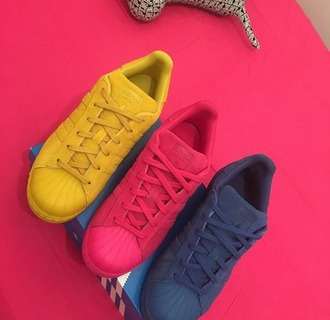 shoes adidas superstars yellow pink blue $$$$