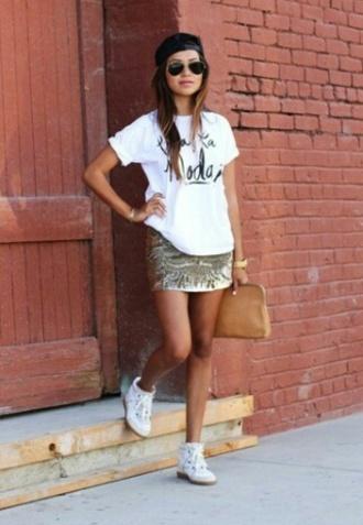 shoes top t-shirt slogan top skirt sequin skirt bag brown bag hat black hat sunglasses watch bracelets white shoes trainers hi tops