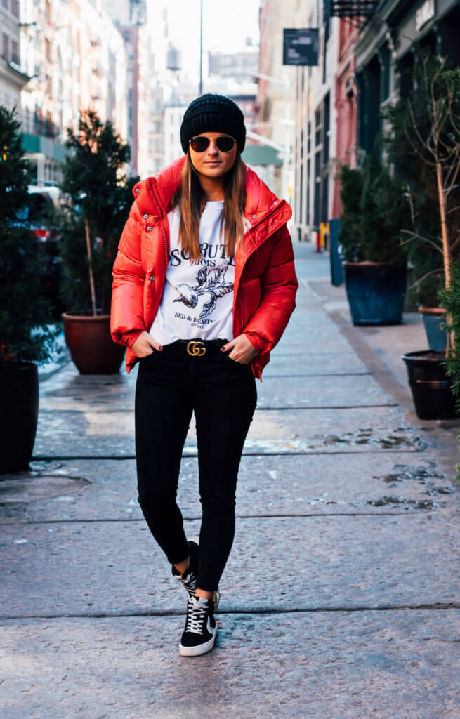 How To Style A Red Puffer Jacket: Daytime Casual | To Be Bright