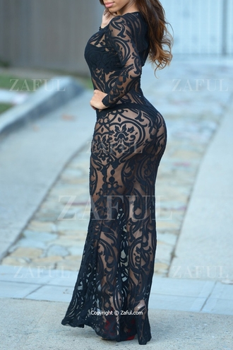 dress zaful maxi dress see through dress black dress lace dress mesh dress