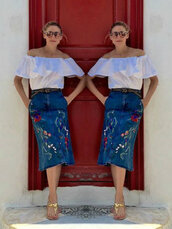 skirt,midi skirt,olivia palermo,blogger,ruffled top,ruffle,off the shoulder,summer outfits,sandals,denim skirt,top,embroidered,embroidered skirt,belt,off the shoulder top,flat sandals,gold sandals,sunglasses,embroidered denim skirt