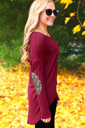 sweater,long sleeves,burgundy,burgundy sweater,shirt,elbow patches,elbow,sequins,gold sequins,high low,wine red