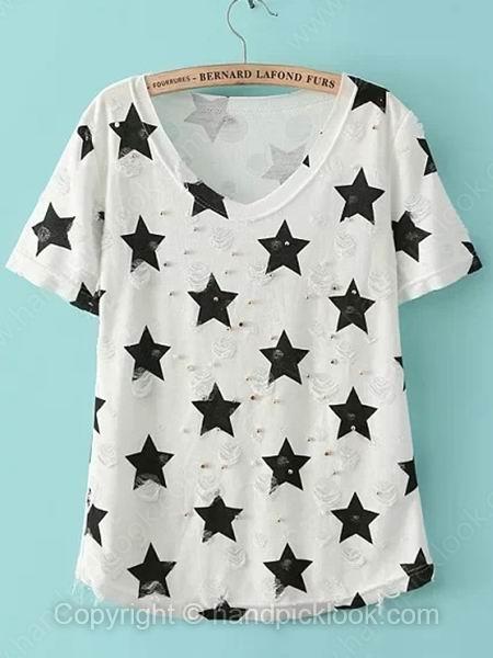 White Short Sleeve Five-pointed Star Print Beading Chiffon T-Shirt - HandpickLook.com