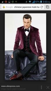 jacket,burgundy,tux