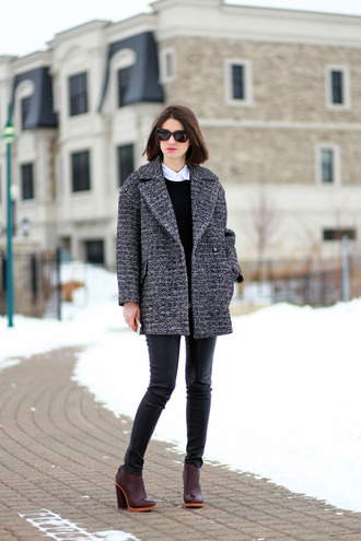 coat winter look tumblr masculine coat grey coat top black top pants black pants boots high heels boots brown boots winter outfits sunglasses black sunglasses