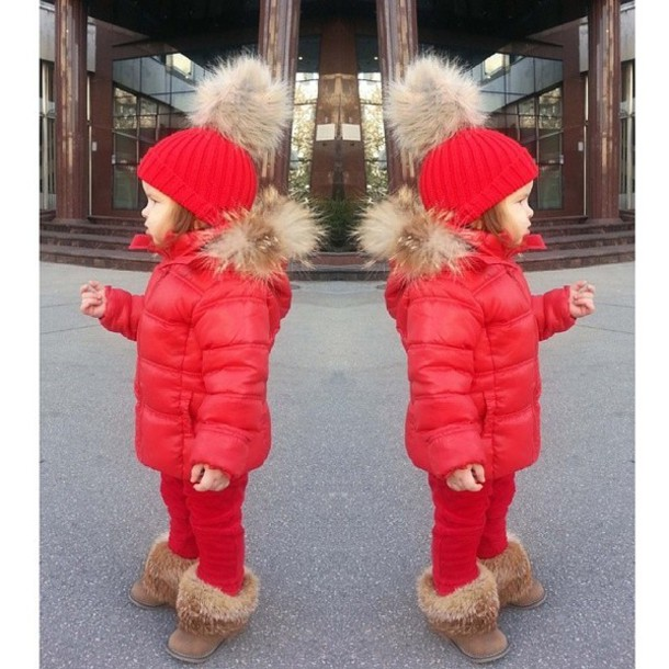 coat, red fur hat, baby girl, red jacket, winter sports, winter ...