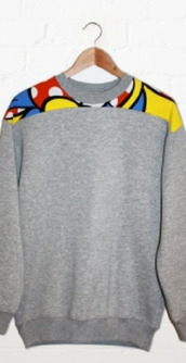 sweater,grey,colorful,red,yellow,blue,crewneck,swag