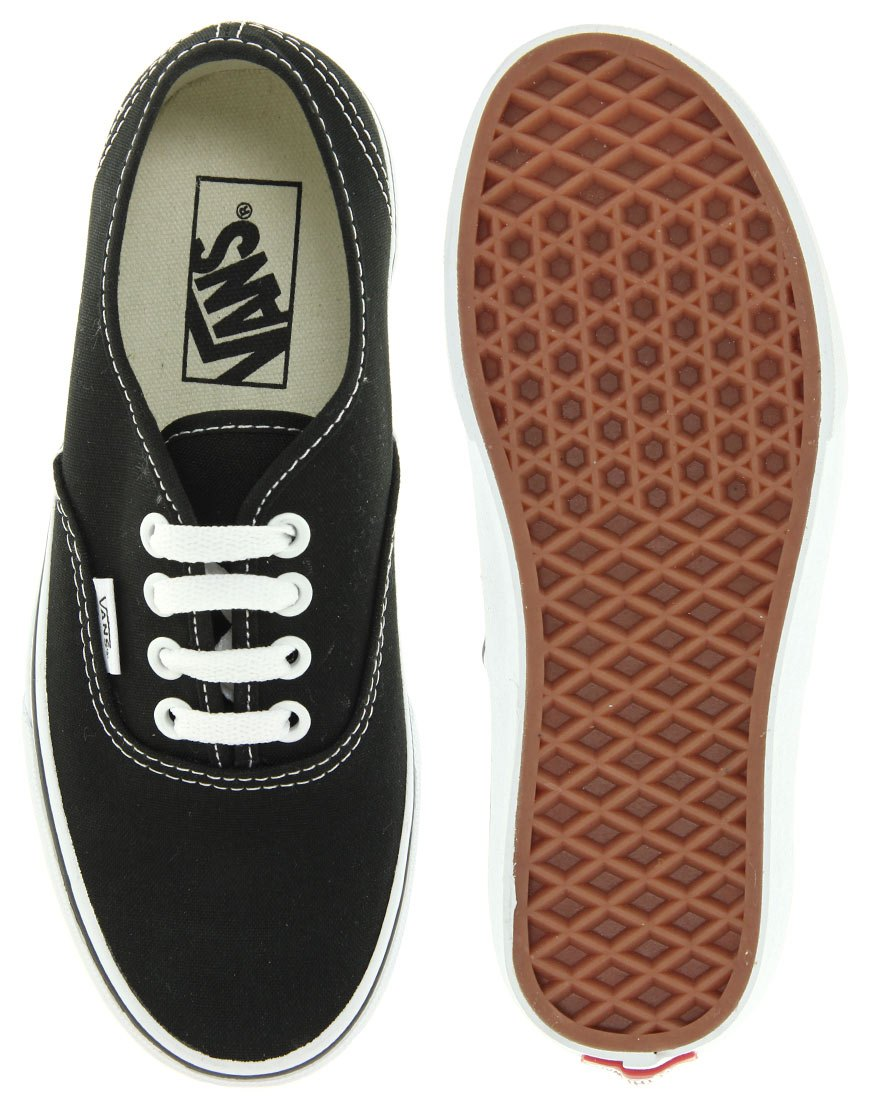 Vans Authentic Classic Black and White Lace Up Trainers at asos.com