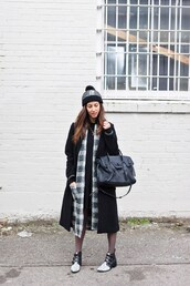 to bruck ave,blogger,jacket,dress,coat,shoes,bag,hat,beanie,black coat,winter outfits