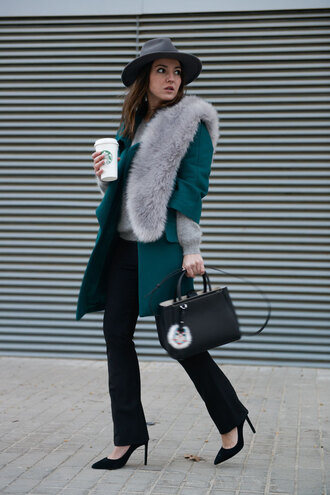 lovely pepa blogger coat fedora fur scarf black bag stilettos bag shoes pants hat classy office outfits