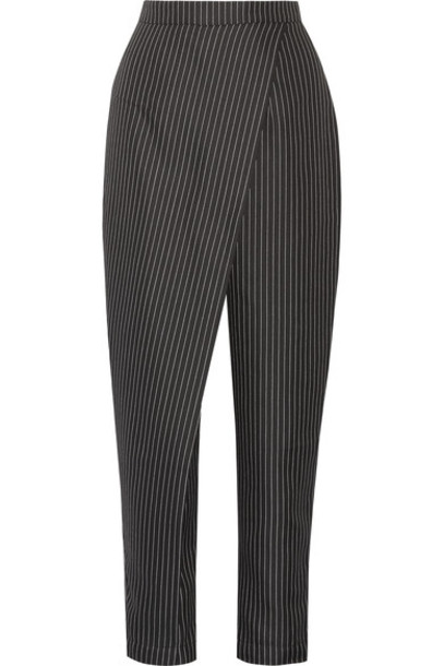 Paper London - Angel Pinstriped Twill Tapered Pants - Black