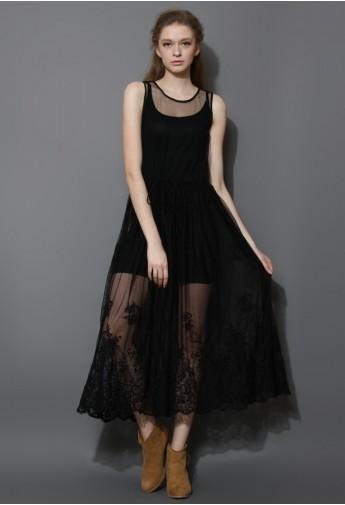 Premium Black Mesh Crochet Smock Maxi Dress  - Retro, Indie and Unique Fashion