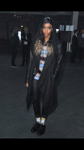 coat,black,leather,accents,hoodie,givenchy,knee length