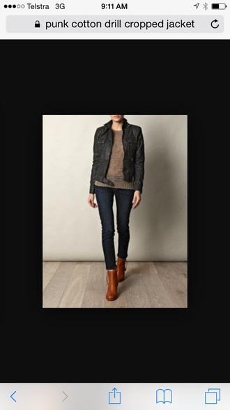 jacket black drill cotton