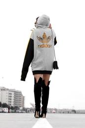 top,tumblr,adidas,sweatshirt dress,sweatshirt,boots,black boots,high heels boots,over the knee boots,thigh high boots,bag,black bag,hoodie,gold,adidas originals