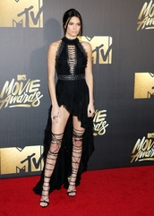 shoes,mtv movie awards,strappy sandals,high heel sandals,knee high,high low dress,party dress,halter dress,asymmetrical dress,black dress
