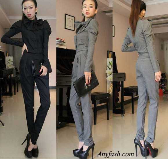 grey shirt pants blouse jumpsuit bowknot