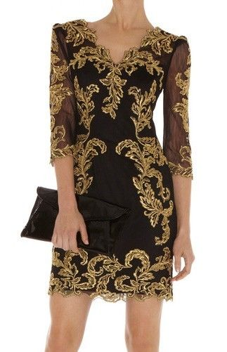Black Gold Lace Embroidery Baroque Prom Wedding Cocktail Dress UK 8 10 12 14 16