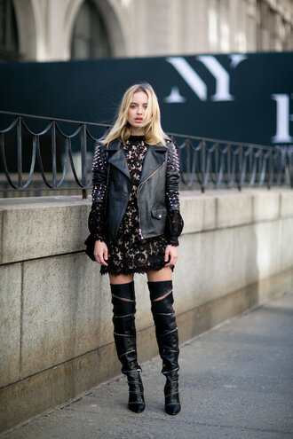 dress mini dress boots jacket fashion week 2016 ny fashion week 2016 streetstyle