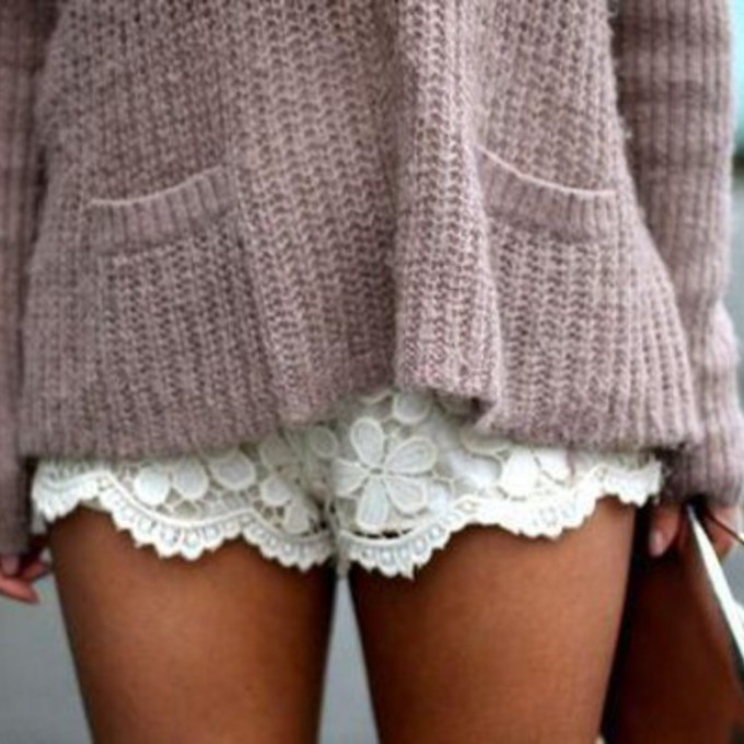 Silky Tap Shorts With Eyelash Lace Hem