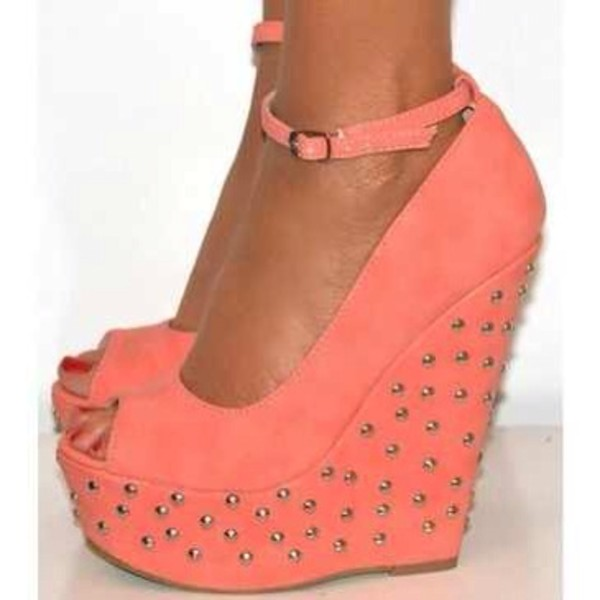 shoes peach wedges