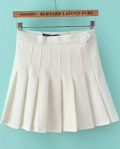 White High Waist Pleated Skirt - Sheinside.com