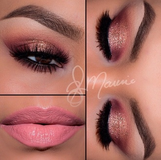 make-up i love this look real cute eyebrows eyebrows on fleek eye makeup eyeshadow eyes make up eyelashes eye shadow eyeliner cute perfecto peach shimmer pink gold glitter sparkly sparkles ombre bright colors pastel pink flawless arched eyebrows rose gold matte matte pink crease i love cute look pretty