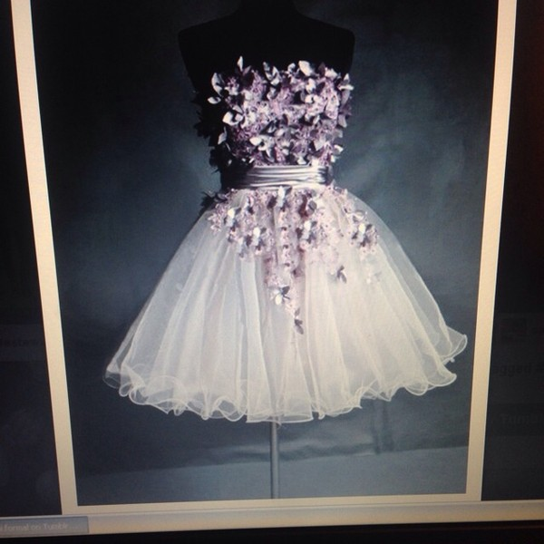 dress prom silver silver leaves purple purple and white ombré ombre silver and purple purple flowers purple leaves leaves cocktail dress cocktail