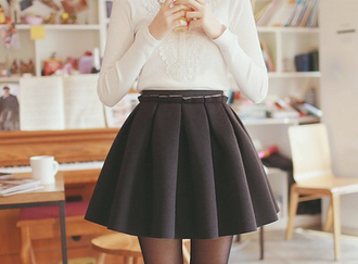 cute style fashion skirt skater skirt tights pantyhose top shirt