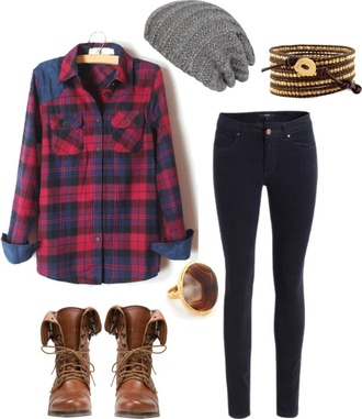 shirt plaid flannel comabt boots red blue fall outfits winter outfits
