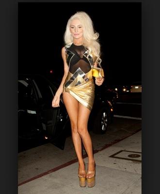 dress courtneystodden black gold meche see through celebrity style short dress bodycon dress mini dress blonde hair celebrity sexy