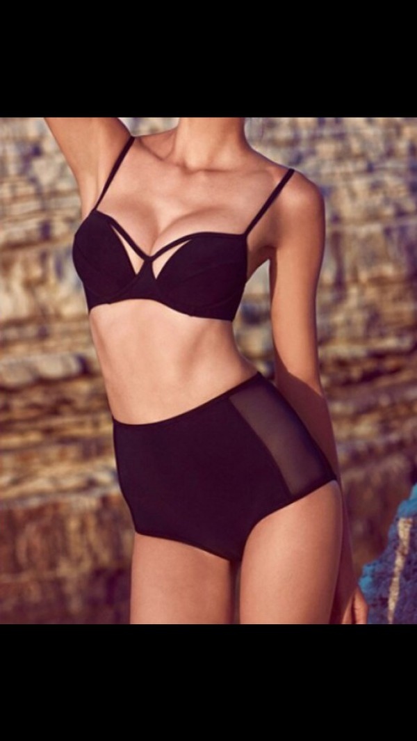 swimwear black high waisted bikini
