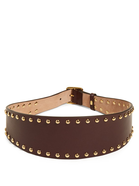 ALEXANDER MCQUEEN Stud-embellished leather waist belt in burgundy