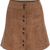 Khaki Buttons Suede Skirt -SheIn(Sheinside)