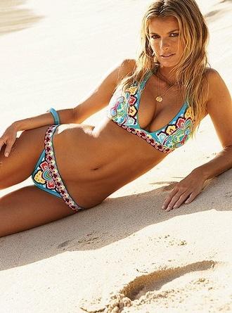 swimwear bikini lightblue turquoise triangle bikini bright colored patterned bikini bottoms summer outfits bathers pattern ocean beach water