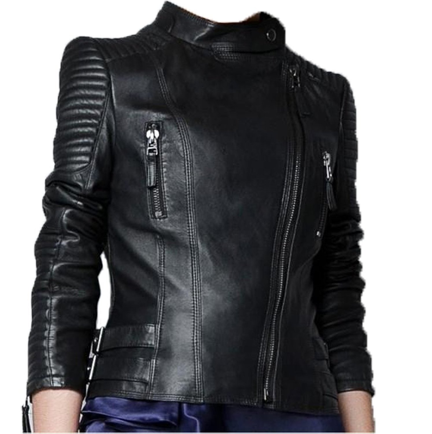Faux Zip up Short Biker Jacket Coat Bomber Outerwear Motorcycle ...