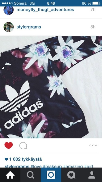 sweater adidas adidas sweater flowers black violet