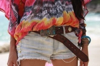 blouse rainbow thin brown white shorts belt turquoise tie dye hippie clothes