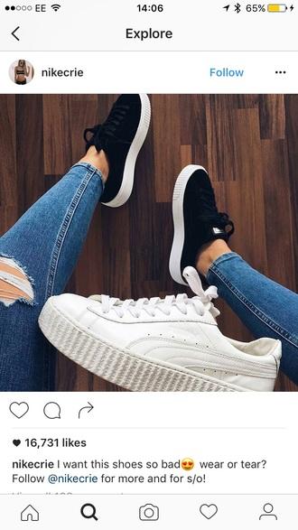shoes white black platform shoes nike nike shoes cute